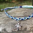 Punutud jalapael kilpkonnaga - sinine, mint, valge