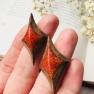 Puidust käsitöökõrvarõngad purustatud koralliga STILETTO